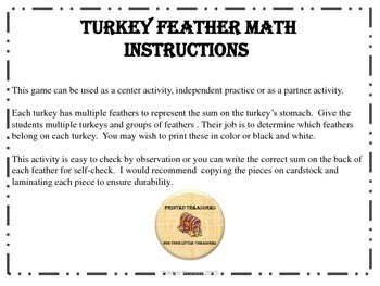 Turkey Feather Math - Complete set 1-10