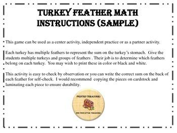 Turkey Feather Math Facts