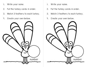Turkey Feather Place Value Match-Up Math Workstation
