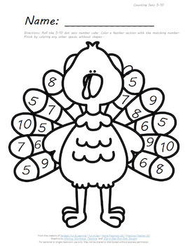 Turkey Feather Roll and Color Thanksgiving Math Activities