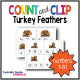Turkey Feathers Count and Clip Cards 1-20