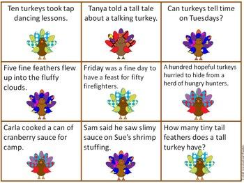 Turkey Feathers Fluency Sentences