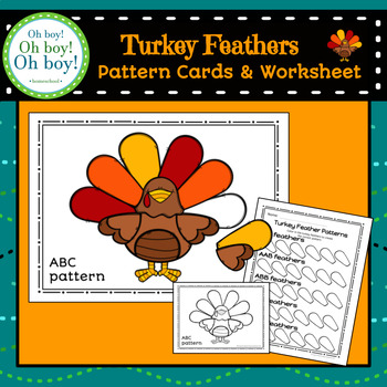 Turkey Feathers Pattern Cards and Worksheet - S
