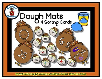 Turkey & Feed  -  Play Dough Manipulative Mats - Alphabet Numbers Colors Shapes