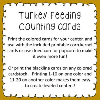 Turkey Feeding Counting Cards