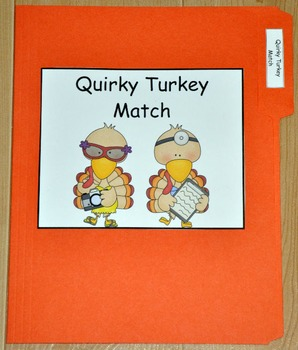 "Turkey File Folder Game:  ""Quirky Turkey Match"""