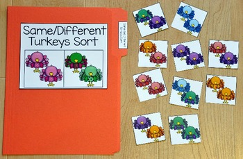 Turkey File Folder Game:  Same and Different Turkeys Sort