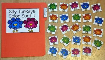 Turkey File Folder Game:  Silly Turkeys Color Sort I