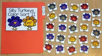 Turkey File Folder Game:  Silly Turkeys Color Sort II