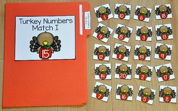 Turkey File Folder Game:  Turkey Numbers Match