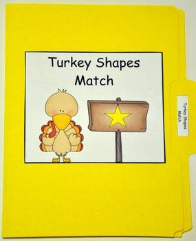 "Turkey File Folder Game: ""Turkey Shapes Match"""