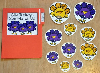 Turkey File Folder Game:  Turkey Size Match