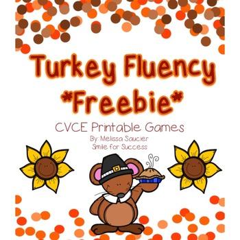 Turkey Fluency Freebie {CVCe words}