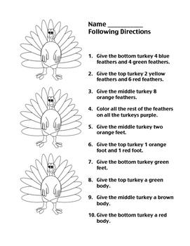 Turkey Following Directions
