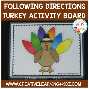Turkey Following Directions Activity Board