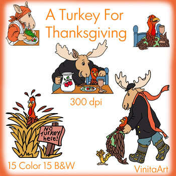 Turkey For Thanksgiving storybook clip art