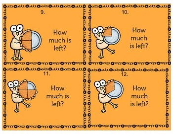 Fraction Task Cards - Turkey Themed