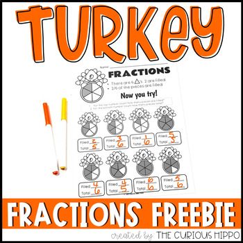 Turkey Fractions FREEBIE Black and White Pages ONLY