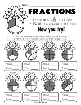 Turkey Fractions FREEBIE Black & White Pages ONLY