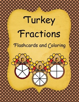 Turkey Fractions Flashcards and Coloring