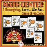 THANKSGIVING ACTIVITY Fractions Math Game Thanksgiving Math Center