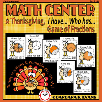 THANKSGIVING ACTIVITY Fractions Math Game Thanksgiving Math Center