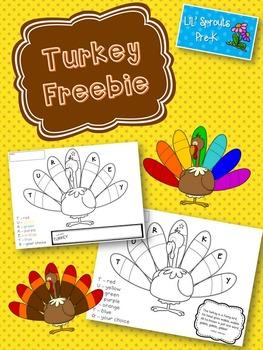 Turkey Freebie - Free Thanksgiving Activity (Pre-K/Kindergarten/Primary Grades)