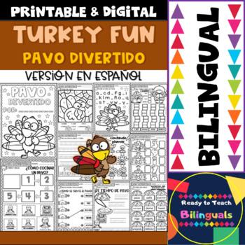 Turkey Fun - Pavo Divertido - No-Prep Printables - Set 1 - Bilingual
