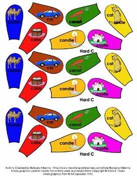 Literacy Center - Turkey Fun - Soft C and Hard C word sort