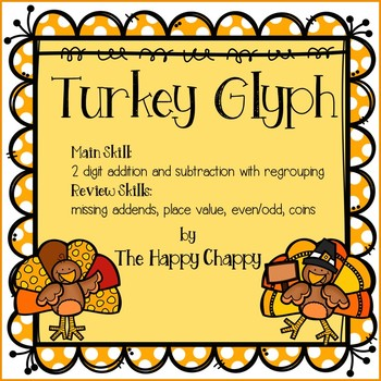 Turkey Glyph 2 Digit Addition and Subtraction with Regrouping