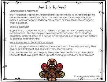 Thanksgiving  Math Activities- A Turkey in Disguise Glyph