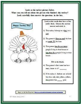 Turkey Glyph with Questions: Gathering & Interpreting Data, Following Directions
