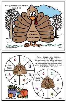 Turkey Gobble Math Spin, Writing Prompts, & Turkey Craft
