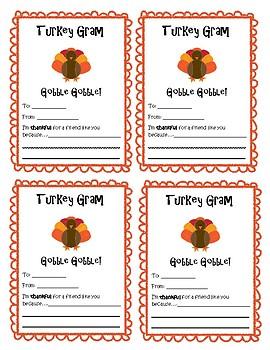 Turkey Gram! Sending positive messages to our classmates
