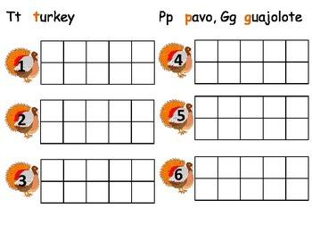 Turkey/Guajolote/Pavo ten frame practice