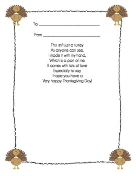 Turkey Hand Poem {a Thanksgiving activity}
