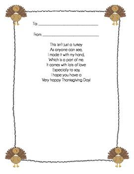 Turkey Hand Poem {a Thanksgiving activity}