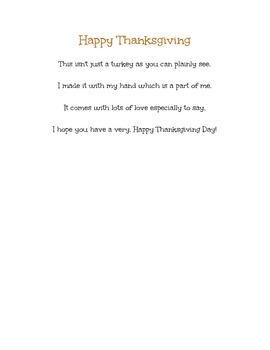 Turkey Hand Print Poem