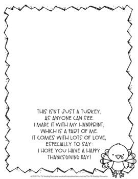 Turkey Handprint Poem