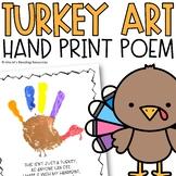 Turkey Hand Print Poem Art Project
