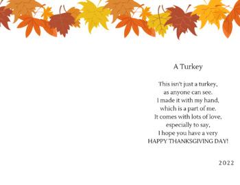 Turkey Handprint Poem (English and Spanish)