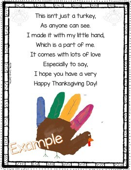 Turkey Handprint Poem for Thanksgiving