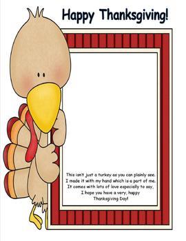 Turkey Handprint Poem or Placemat