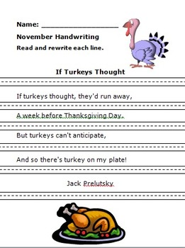 Turkey Handwriting Jack Prelutsky
