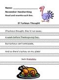 Turkey Handwriting Jack Prelutsky