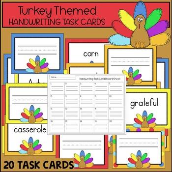Turkey Handwriting Task Cards {THANKSGIVING SCOOT}