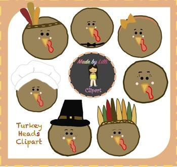 Turkey Heads / Thanksgiving Clipart - {Turkey Clipart}