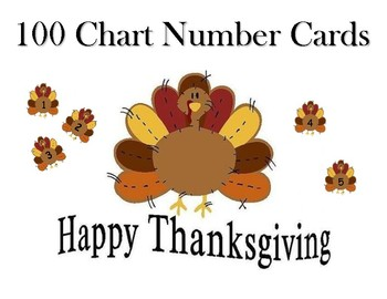 Turkey Hundred Chart Number Cards 1-100