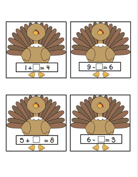 Turkey Hunt:  Addition and Subtraction Missing Addend Equations