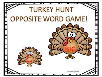 Thanksgiving Antonyms: Word Game (Turkey Hunt)